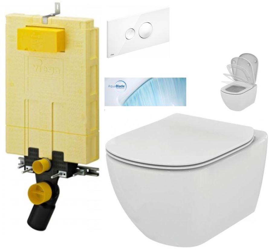 /SET/VIEGA - MONO modul WC čelné ovládanie + ovládacie tlačidlo BIELE + WC TESI so sedadlom SoftClose, AquaBlade (V606732BI TE1)
