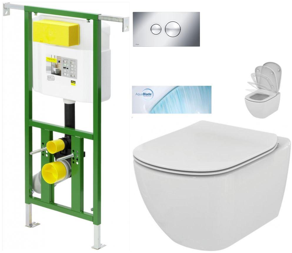 /SET/VIEGA - Eko PLUS modul do jadra WC čelnej ovládanie SET CHRÓM + ovládacie tlačidlo CHRÓM + WC TESI so sedadlom SoftClose, AquaBlade (V622176CR TE1)