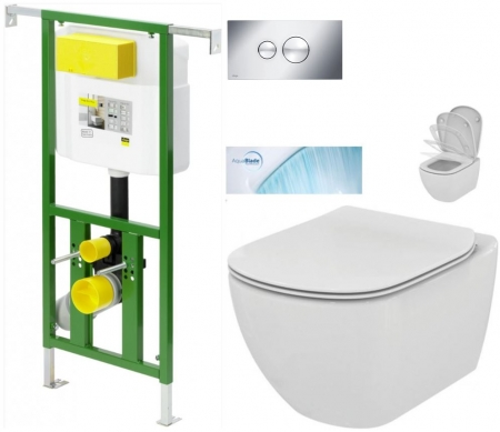 AKCE/SET/VIEGA - Eko PLUS modul do jadra WC čelnej ovládanie SET CHRÓM + ovládacie tlačidlo CHRÓM + WC TESI so sedadlom SoftClose, AquaBlade (V622176CR TE1)