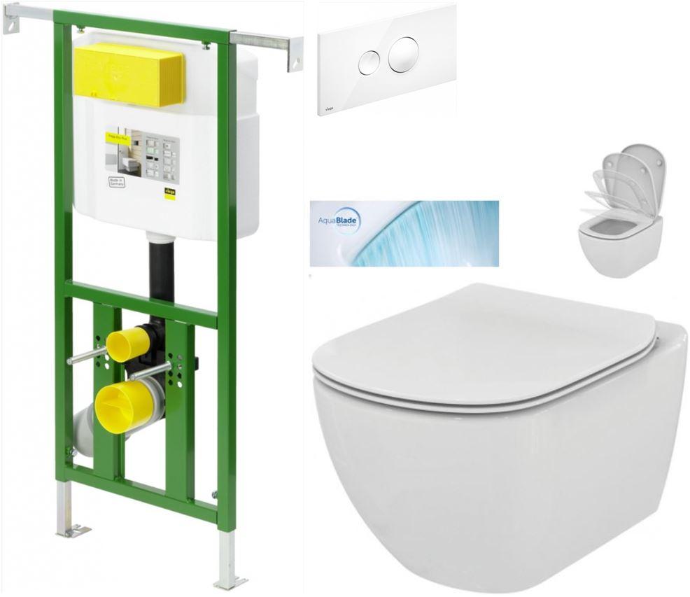 /SET/VIEGA - Eko PLUS modul do jadra WC čelnej ovládanie SET BIELE + ovládacie tlačidlo BIELE + WC TESI so sedadlom SoftClose, AquaBlade (V622176BI TE1)