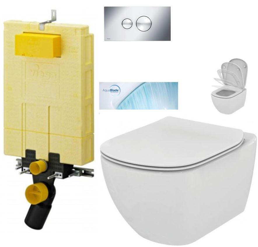 /SET/VIEGA - MONO modul WC čelné ovládanie + ovládacie tlačidlo CHRÓM + WC TESI so sedadlom SoftClose, AquaBlade (V606732CR TE1)