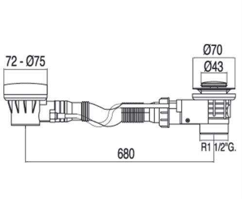 TRES - Automatický odtok vane s prepadom zátka O 43 mm (13453410)