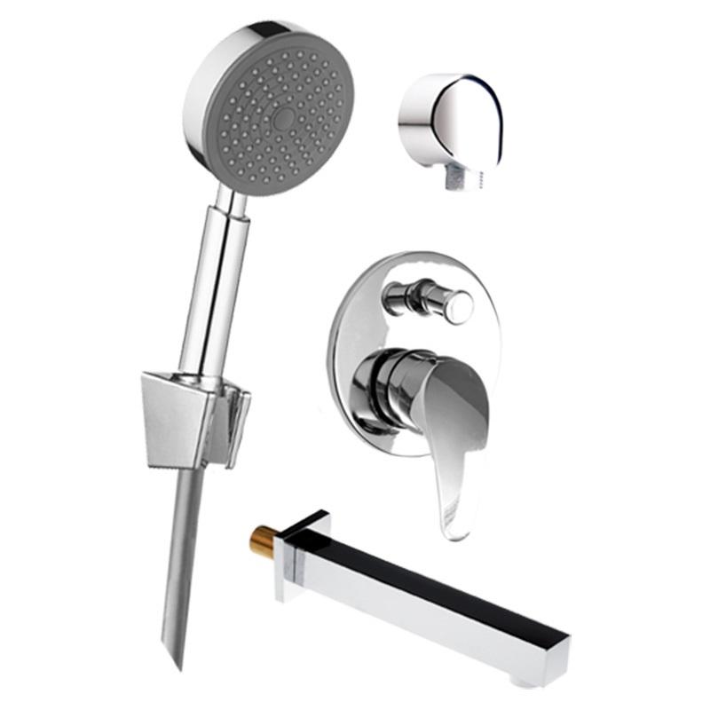 MEREO - Vanový set: sprchová podomítková baterie, vanové hubice, ruční sprcha, stěnový vývod (CB650E)