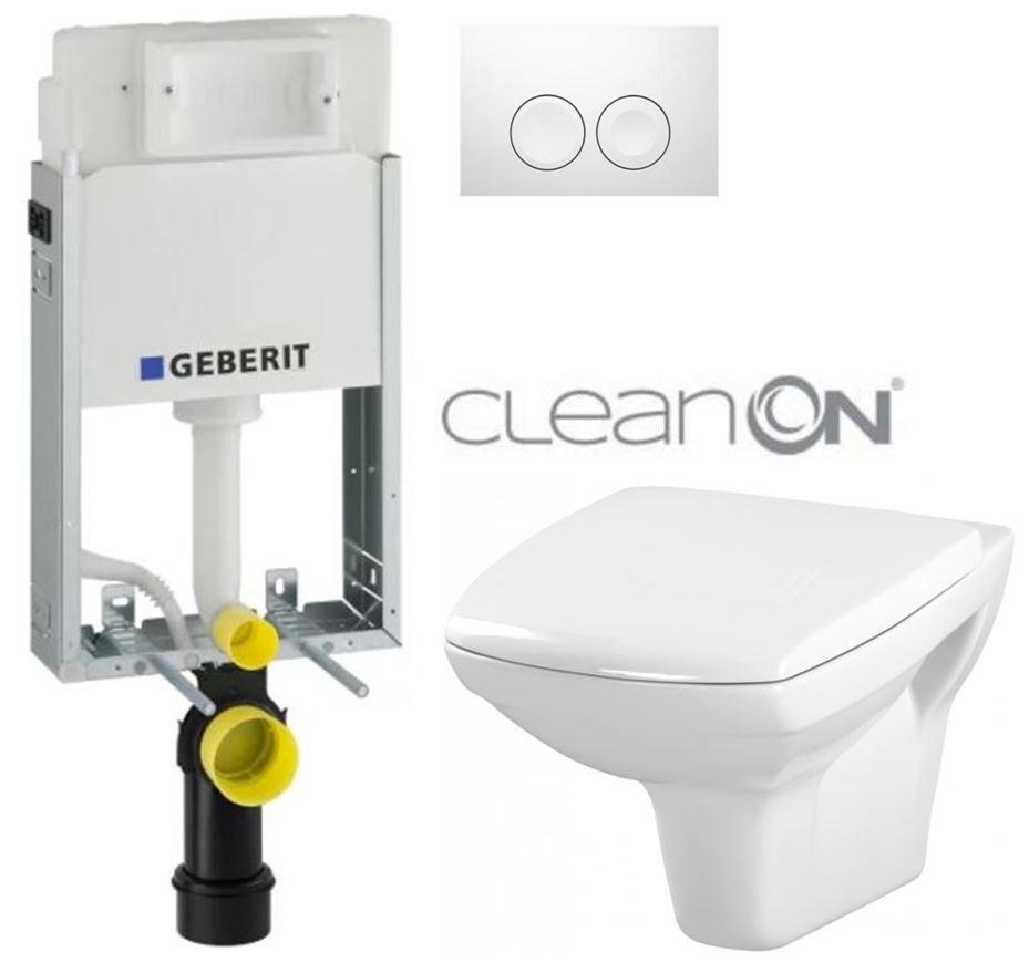 AKCE/SET/GEBERIT - KOMBIFIXBasic vrátane ovládacieho tlačidla DELTA 21 Biele pre závesné WC CERSANIT CLEANON CARINA + SEDADLO (110.100.00.1 21BI CA1)