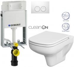 AKCE/SET/GEBERIT - KOMBIFIXBasic vrátane ovládacieho tlačidla DELTA 21 Biele pre závesné WC CERSANIT CLEANON COLOUR + SEDADLO (110.100.00.1 21BI CN1)
