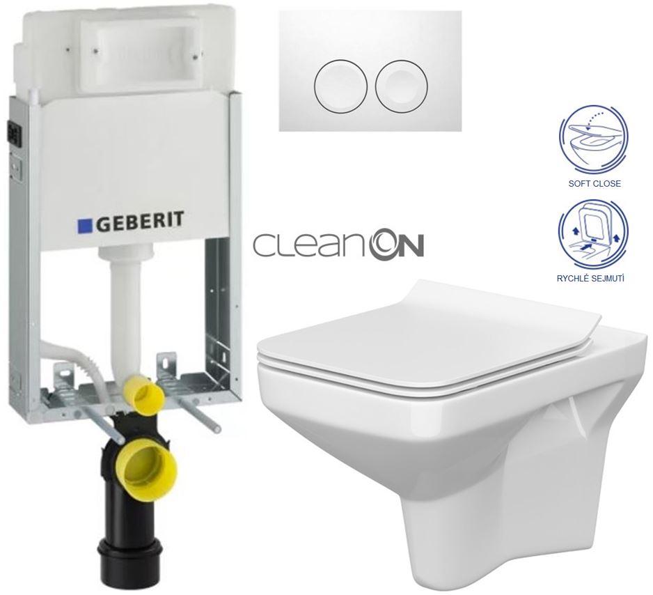 AKCE/SET/GEBERIT - KOMBIFIXBasic vrátane ovládacieho tlačidla DELTA 21 Biele pre závesné WC CERSANIT CLEANON COMO + SEDADLO (110.100.00.1 21BI CO1)
