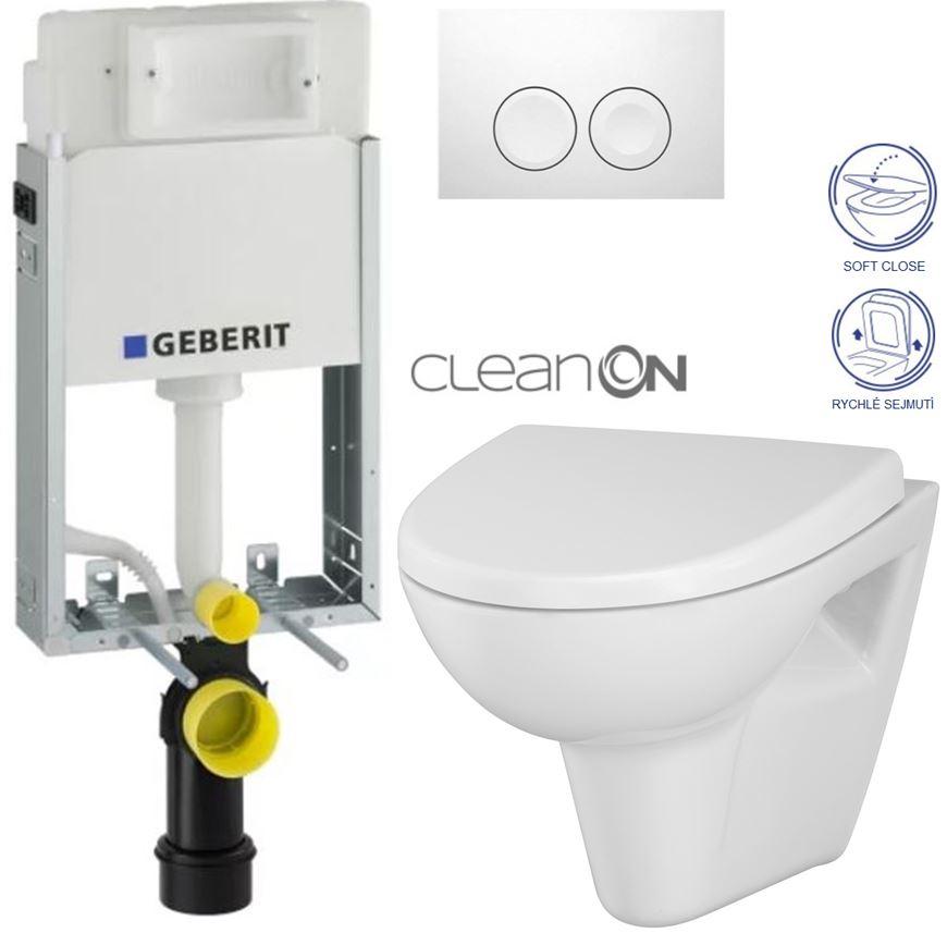 AKCE/SET/GEBERIT - KOMBIFIXBasic vrátane ovládacieho tlačidla DELTA 21 Biele pre závesné WC CERSANIT CLEANON Parva + SEDADLO (110.100.00.1 21BI PA1)