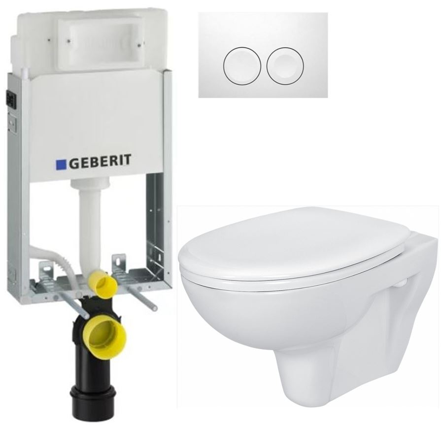/SET/GEBERIT - KOMBIFIXBasic vrátane ovládacieho tlačidla DELTA 21 Biele pre závesné WC CERSANIT PRESIDENT + SEDADLO (110.100.00.1 21BI PR1)