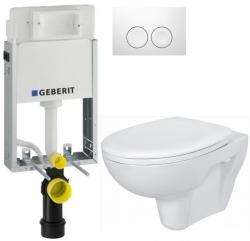 AKCE/SET/GEBERIT - KOMBIFIXBasic vrátane ovládacieho tlačidla DELTA 21 Biele pre závesné WC CERSANIT PRESIDENT + SEDADLO (110.100.00.1 21BI PR1)