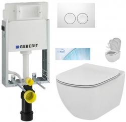 AKCE/SET/GEBERIT - SET KOMBIFIXBasic vrátane ovládacieho tlačidla DELTA 21 Biele pre závesné WC TESI so sedadlom SoftClose, AquaBlade (110.100.00.1 21BI TE1)