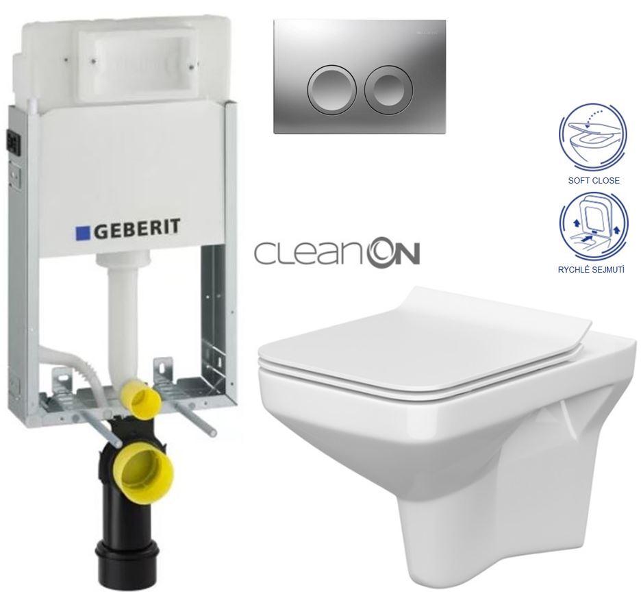 AKCE/SET/GEBERIT - GEBERIT - KOMBIFIXBasic vrátane ovládacieho tlačidla DELTA 21 MAT pre závesné WC CERSANIT CLEANON COMO + SEDADLO (110.100.00.1 21MA CO1)