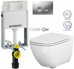 AKCE/SET/GEBERIT - KOMBIFIXBasic vrátane ovládacieho tlačidla DELTA 21 MAT pre závesné WC CERSANIT CLEANON CASPIA + SEDADLO (110.100.00.1 21MA CP1)