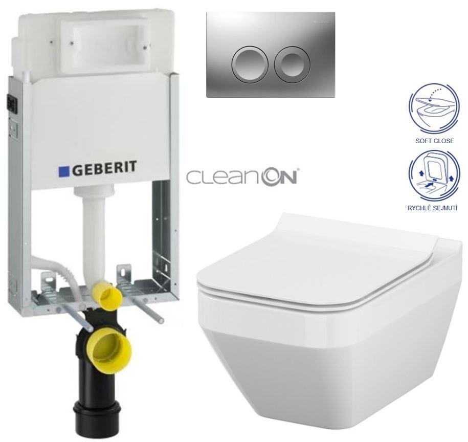 AKCE/SET/GEBERIT - GEBERIT - KOMBIFIXBasic vrátane ovládacieho tlačidla DELTA 21 MAT pre závesné WC CERSANIT CLEANON CREA ŠTVOREC + SEDADLO (110.100.00.1 21MA CR2)