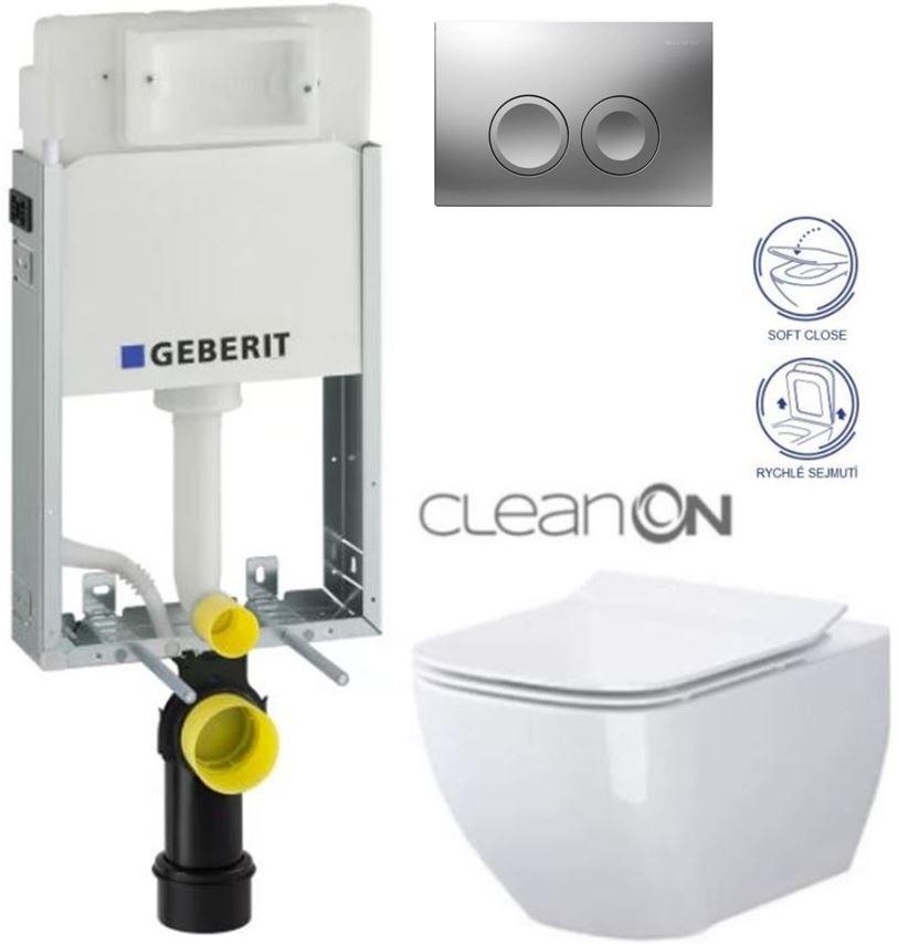 AKCE/SET/GEBERIT - GEBERIT - KOMBIFIXBasic vrátane ovládacieho tlačidla DELTA 21 MAT pre závesné WC CERSANIT CLEANON METROPOLITAN + SEDADLO (110.100.00.1 21MA ME1)