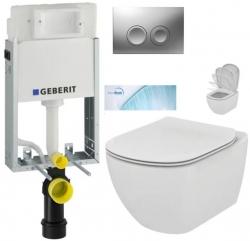 GEBERIT KOMBIFIXBasic vr. matného tlačidla DELTA 21 + WC Ideal Standard Tesi so sedadlom SoftClose, AquaBlade (110.100.00.1 21MA TE1)