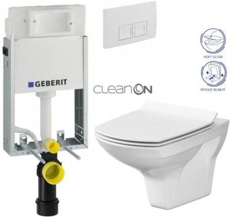AKCE/SET/GEBERIT - SET KOMBIFIXBasic vrátane ovládacieho tlačidla DELTA 50 Biele pre závesné WC CERSANIT CLEANON CARINA + SEDADLO (110.100.00.1 50BI Ca3)