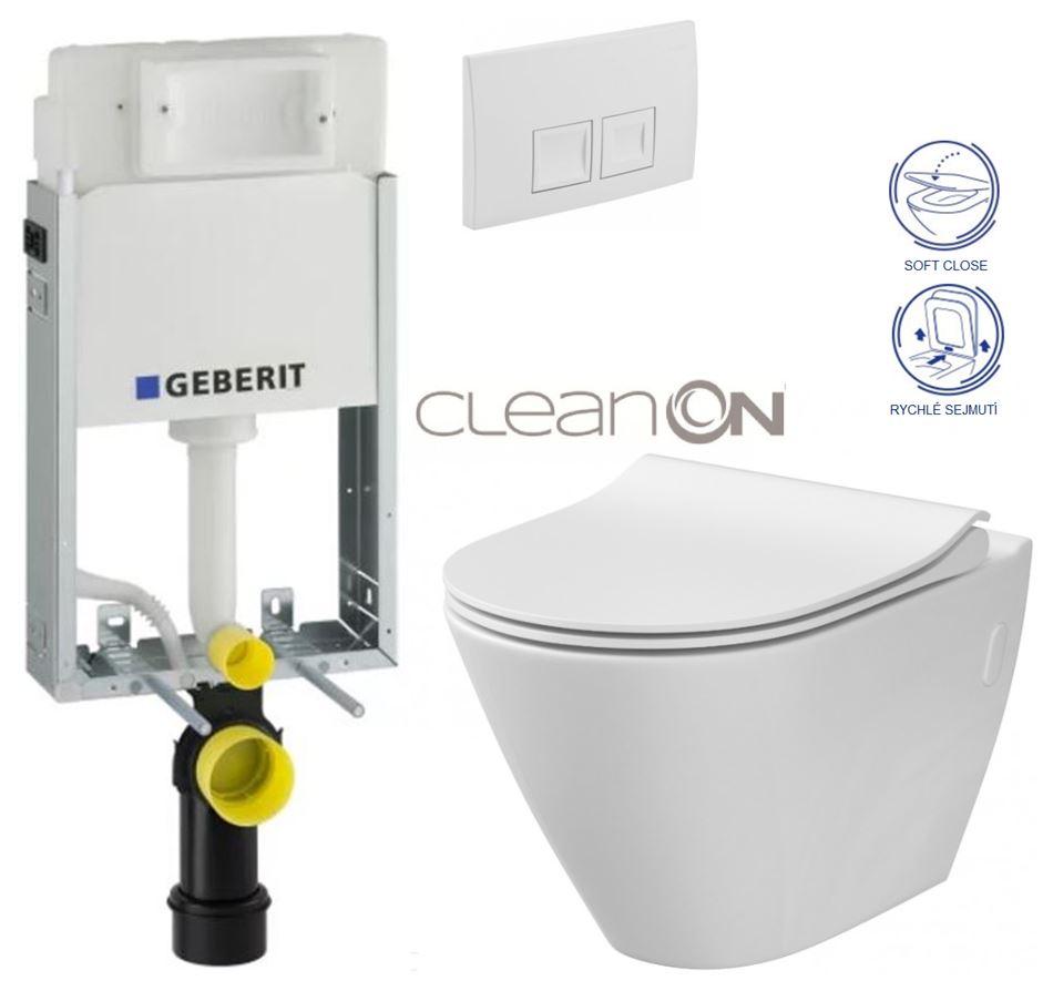 AKCE/SET/GEBERIT - GEBERIT - KOMBIFIXBasic vrátane ovládacieho tlačidla DELTA 50 Biele pre závesné WC CERSANIT CLEANON CITY (110.100.00.1 50BI CI1)