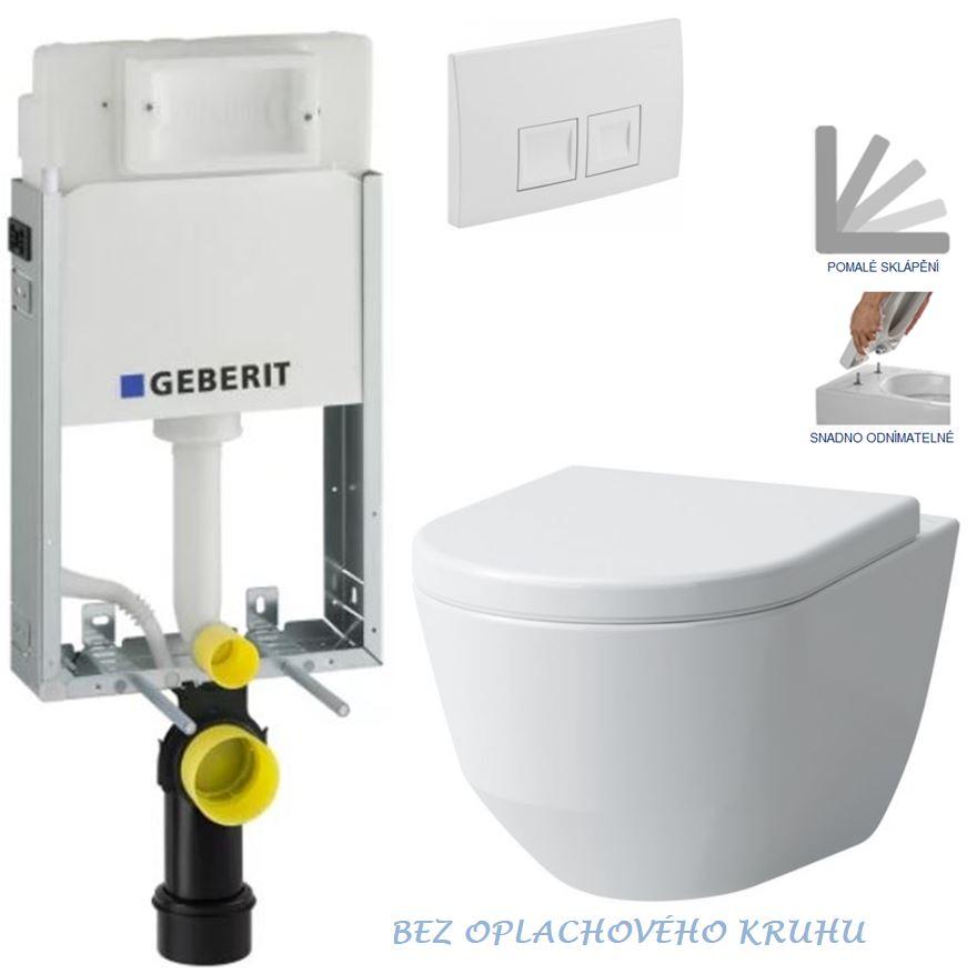 AKCE/SET/GEBERIT - GEBERIT - KOMBIFIXBasic vrátane ovládacieho tlačidla DELTA 50 Biele pre závesné WC LAUFEN PRO RIMLESS + SEDADLO (110.100.00.1 50BI LP1)