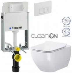 AKCE/SET/GEBERIT - KOMBIFIXBasic vrátane ovládacieho tlačidla DELTA 50 Biele pre závesné WC CERSANIT CLEANON METROPOLITAN + SEDADLO (110.100.00.1 50BI ME1)