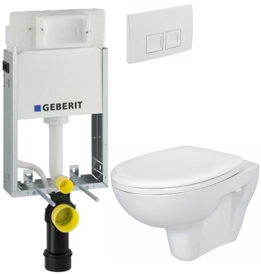 /SET/GEBERIT - KOMBIFIXBasic vrátane ovládacieho tlačidla DELTA 50 Biele pre závesné WC CERSANIT PRESIDENT + SEDADLO (110.100.00.1 50BI PR1)