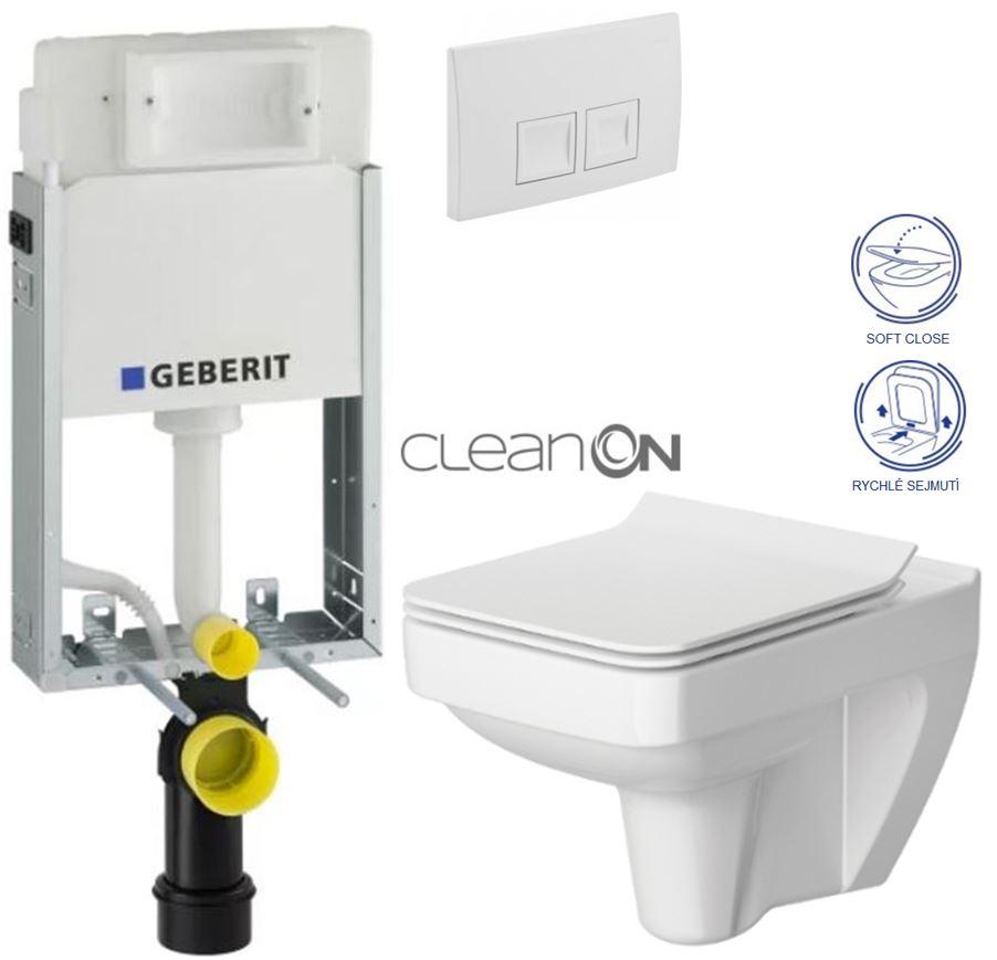 AKCE/SET/GEBERIT - GEBERIT - KOMBIFIXBasic vrátane ovládacieho tlačidla DELTA 50 Biele pre závesné WC CERSANIT CLEANON SPLENDOUR + SEDADLO (110.100.00.1 50BI SP1)
