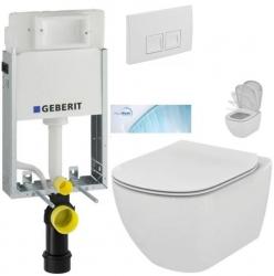 GEBERIT KOMBIFIXBasic vr. bieleho  tlačidla DELTA 50 + WC Ideal Standard Tesi so sedadlom SoftClose, AquaBlade (110.100.00.1 50BI TE1)