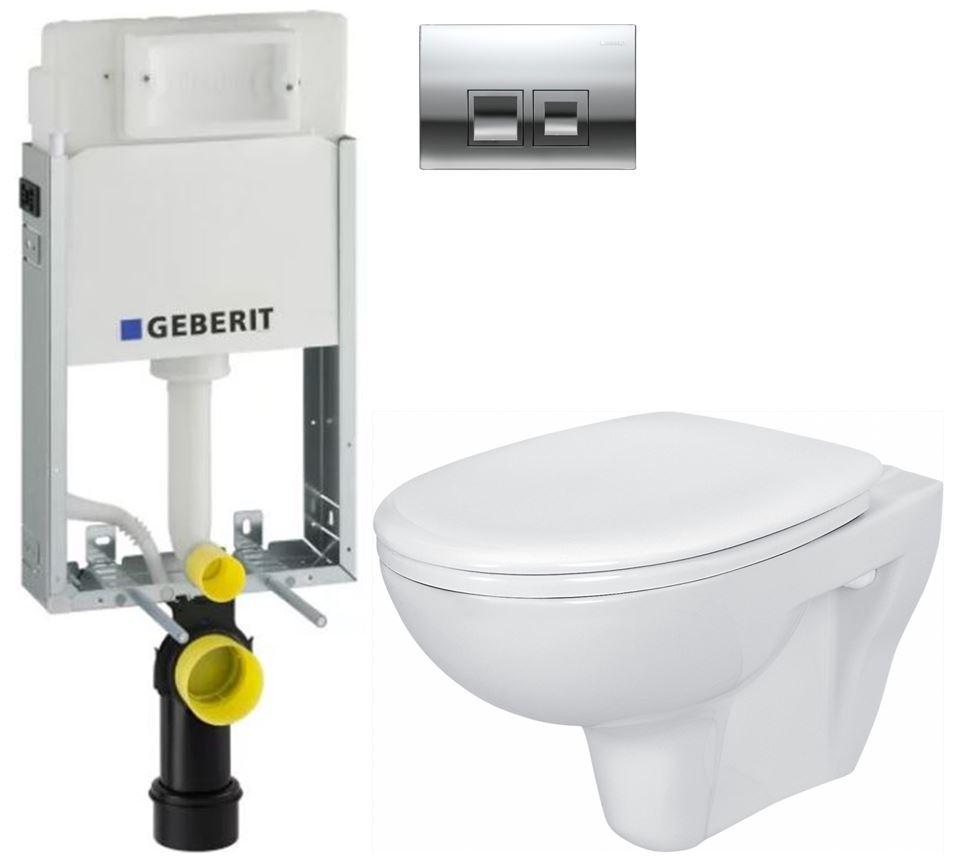 /SET/GEBERIT - KOMBIFIXBasic vrátane ovládacieho tlačidla DELTA 50 CR pre závesné WC CERSANIT PRESIDENT + SEDADLO (110.100.00.1 50CR PR1)
