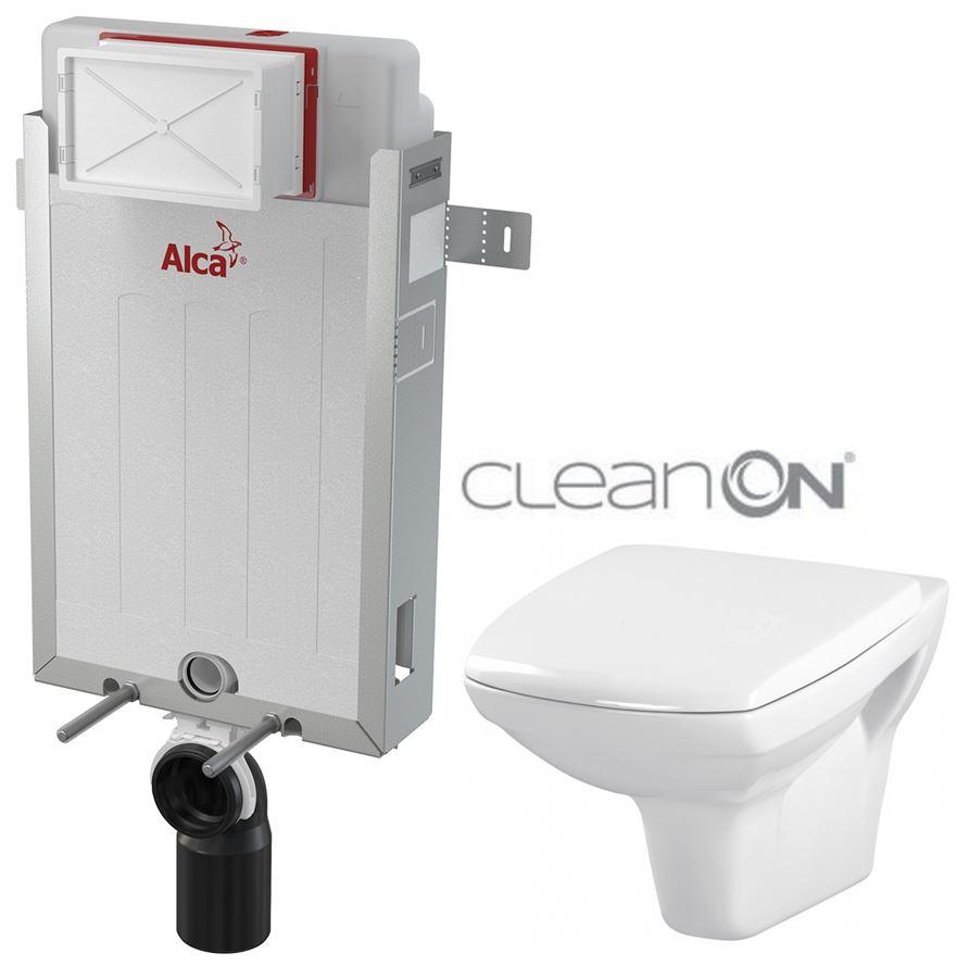 AKCE/SET/ALCAPLAST - Renovmodul - predstenový inštalačný systém - 1 m AM115/1000 pre závesné WC CERSANIT CLEANON CARINA + SEDADLO (AM115/1000 X CA1)