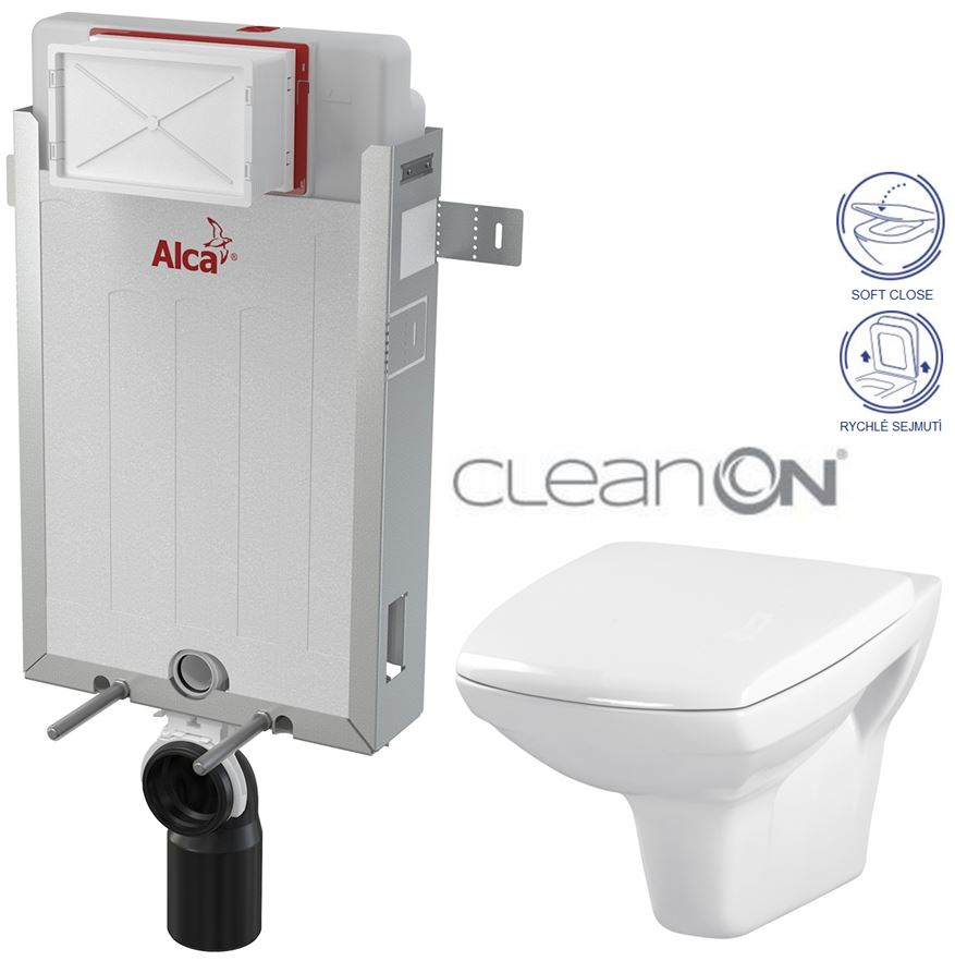 ALCAPLAST Renovmodul - předstěnový instalační systém bez tlačítka + WC CERSANIT CLEANON CARINA + SEDÁTKO (AM115/1000 X CA2)