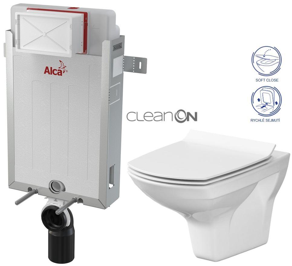 ALCAPLAST Renovmodul - předstěnový instalační systém bez tlačítka + WC CERSANIT CLEANON CARINA + SEDÁTKO (AM115/1000 X CA3)