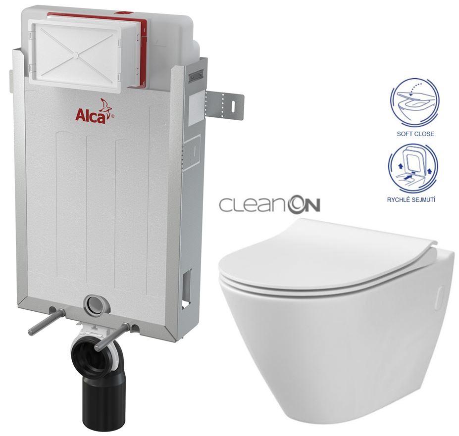 ALCAPLAST Renovmodul - předstěnový instalační systém bez tlačítka + WC CERSANIT CLEANON CITY (AM115/1000 X CI1)