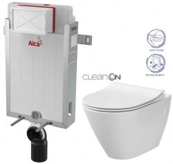 AKCE/SET/ALCAPLAST - Renovmodul - predstenový inštalačný systém + WC CERSANIT CLEANON CITY + SEDADLO (AM115/1000 X CI1)