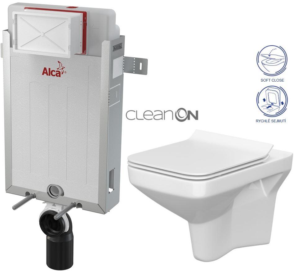 ALCAPLAST Renovmodul - předstěnový instalační systém bez tlačítka + WC CERSANIT CLEANON COMO + SEDÁTKO (AM115/1000 X CO1)