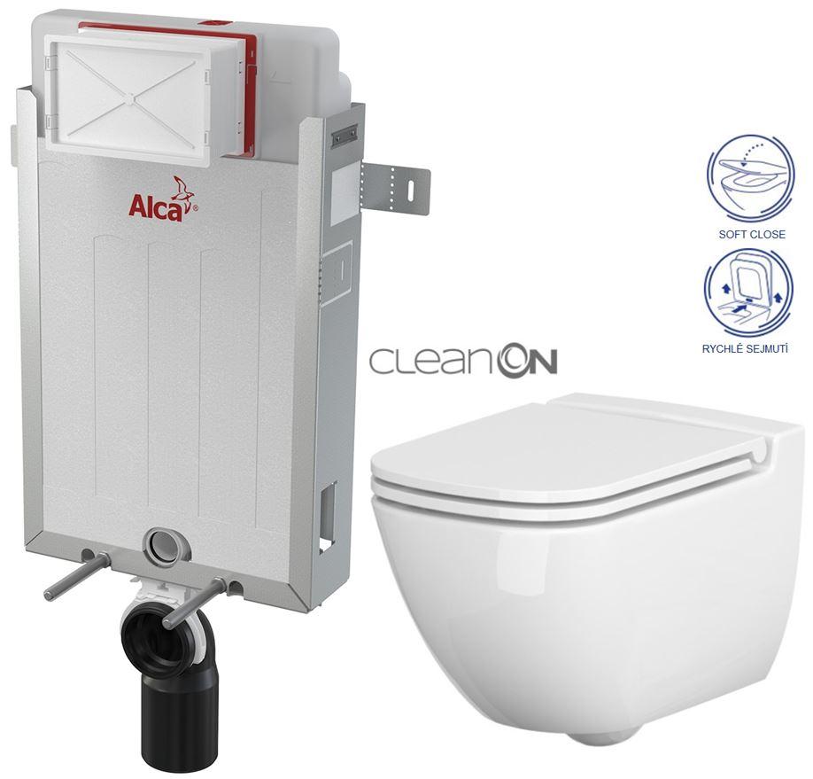 AKCE/SET/ALCAPLAST - Renovmodul - predstenový inštalačný systém + WC CERSANIT CLEANON CASPIA + SEDADLO (AM115/1000 X CP1)