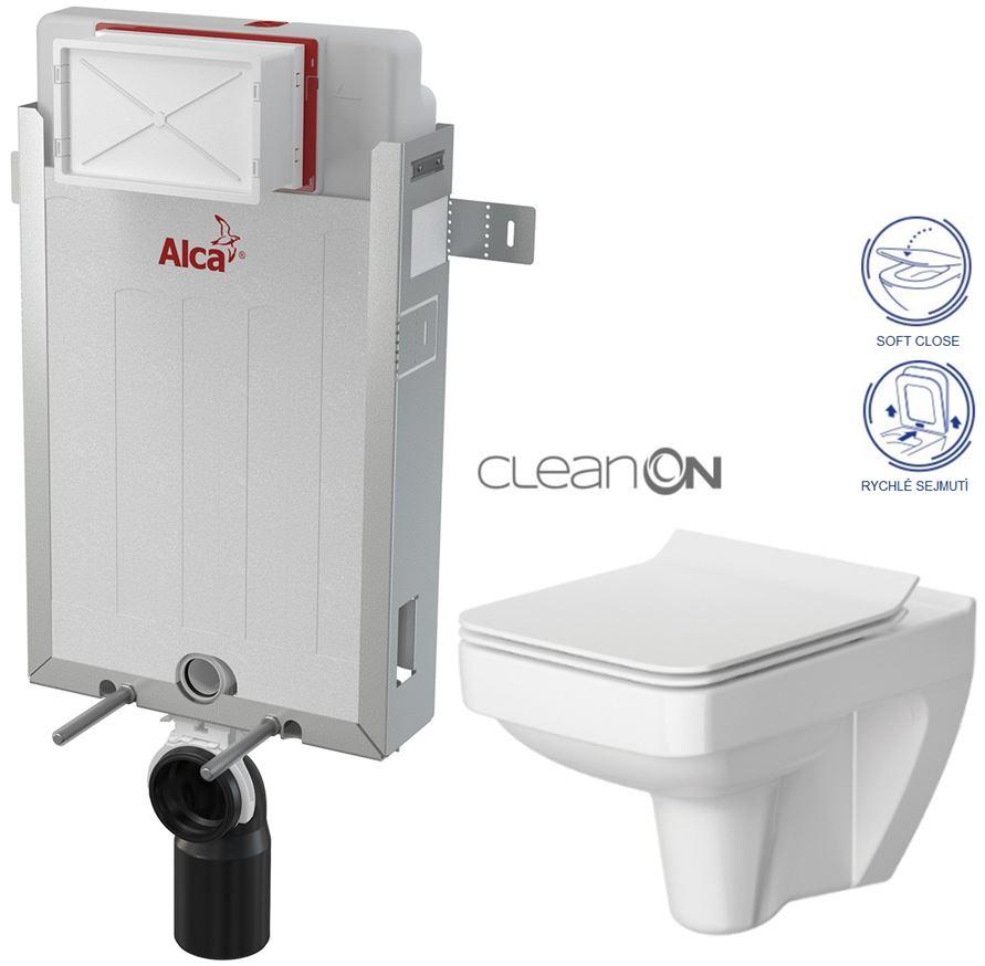 ALCAPLAST Renovmodul - předstěnový instalační systém bez tlačítka + WC CERSANIT CLEANON SPLENDOUR + SEDÁTKO (AM115/1000 X SP1)
