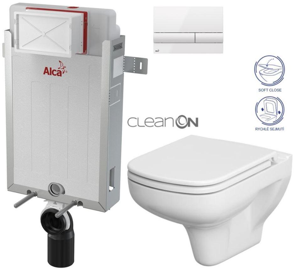AKCE/SET/ALCAPLAST - Renovmodul - predstenový inštalačný systém + tlačidlo M1710 + WC CERSANIT CLEANON colur + SEDADLO (AM115/1000 M1710 CN1)