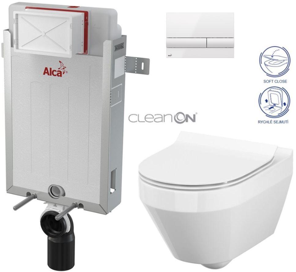 AKCE/SET/ALCAPLAST - Renovmodul - predstenový inštalačný systém + tlačidlo M1710 + WC CERSANIT CLEANON CREA OVÁL + SEDADLO (AM115/1000 M1710 CR1)