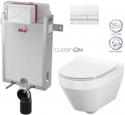 ALCAPLAST  Renovmodul - predstenový inštalačný systém s bielym tlačidlom M1710 + WC CERSANIT CLEANON CREA OVÁL + SEDADLO (AM115/1000 M1710 CR1)