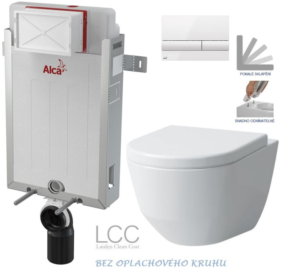 /SET/ALCAPLAST - Renovmodul - predstenový inštalačný systém + tlačidlo M1710 + WC LAUFEN PRO LCC RIMLESS + SEDADLO (AM115/1000 M1710 LP2)
