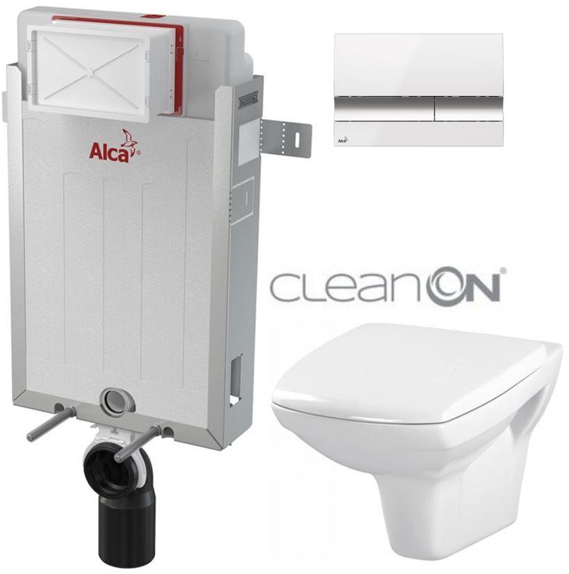 AKCE/SET/ALCAPLAST - Renovmodul - predstenový inštalačný systém + tlačidlo M1720-1 + WC CERSANIT CLEANON CARINA + SEDADLO (AM115/1000 M1720-1 CA1)