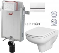 AKCE/SET/ALCAPLAST - SET Renovmodul - predstenový inštalačný systém + tlačidlo M1720-1 + WC CERSANIT CLEANON COLOUR + SEDADLO (AM115/1000 M1720-1 CN1)