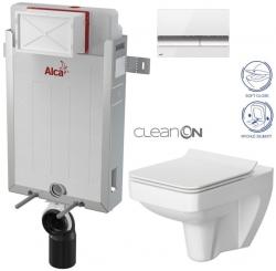 AKCE/SET/ALCAPLAST - Renovmodul - predstenový inštalačný systém + tlačidlo M1720-1 + WC CERSANIT CLEANON SPLENDOUR + SEDADLO (AM115/1000 M1720-1 SP1)