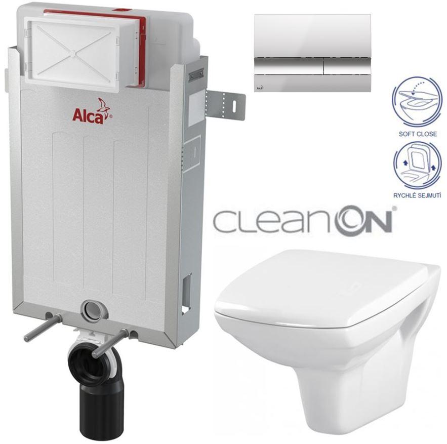AKCE/SET/ALCAPLAST - Renovmodul - predstenový inštalačný systém + tlačidlo M1721 + WC CERSANIT CLEANON CARINA + SEDADLO (AM115/1000 M1721 CA2)