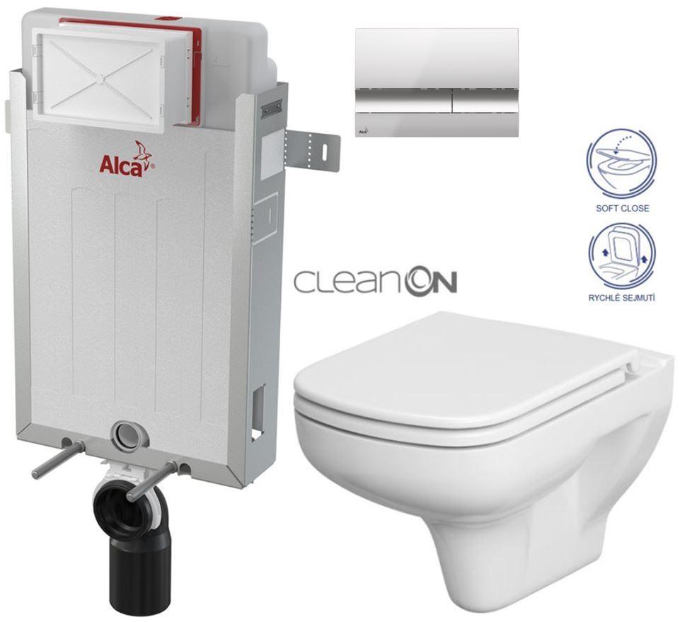 AKCE/SET/ALCAPLAST - Renovmodul - predstenový inštalačný systém + tlačidlo M1721 + WC CERSANIT CLEANON COLOUR + SEDADLO (AM115/1000 M1721 CN1)