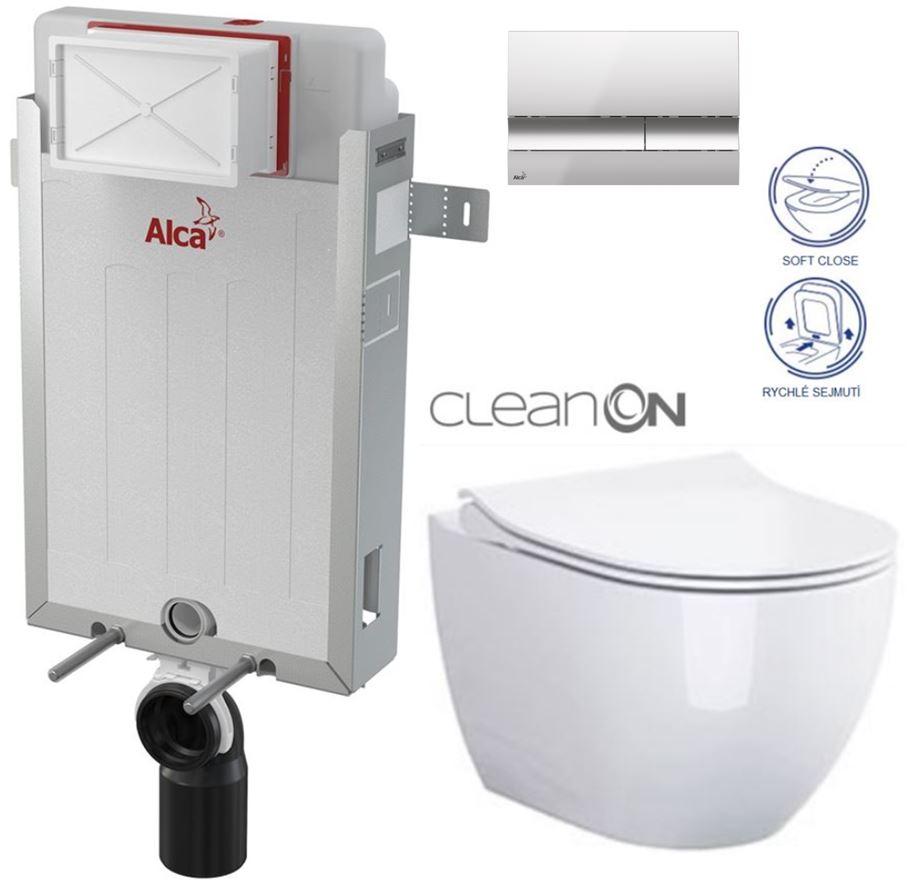 AKCE/SET/ALCAPLAST - Renovmodul - predstenový inštalačný systém + tlačidlo M1721 + WC CERSANIT CLEANON URBAN HARMONY + SEDADLO (AM115/1000 M1721 HA1)