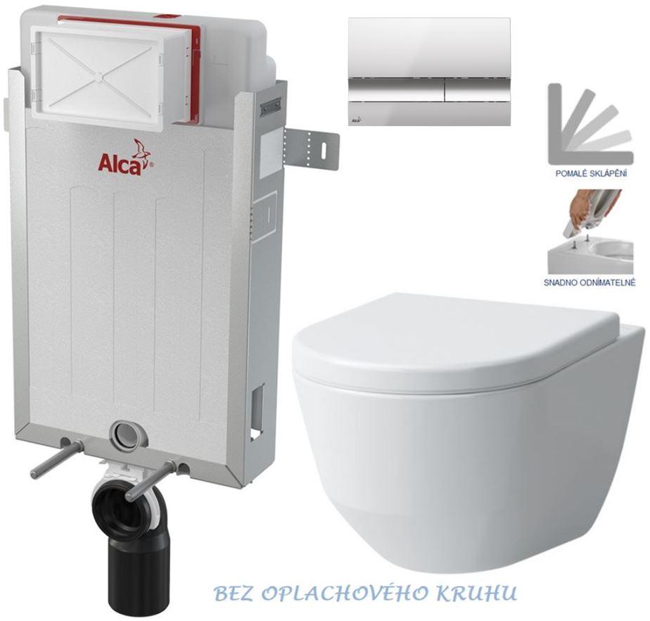 AKCE/SET/ALCAPLAST - Renovmodul - predstenový inštalačný systém + tlačidlo M1721 + WC LAUFEN PRO RIMLESS + SEDADLO (AM115/1000 M1721 LP1)