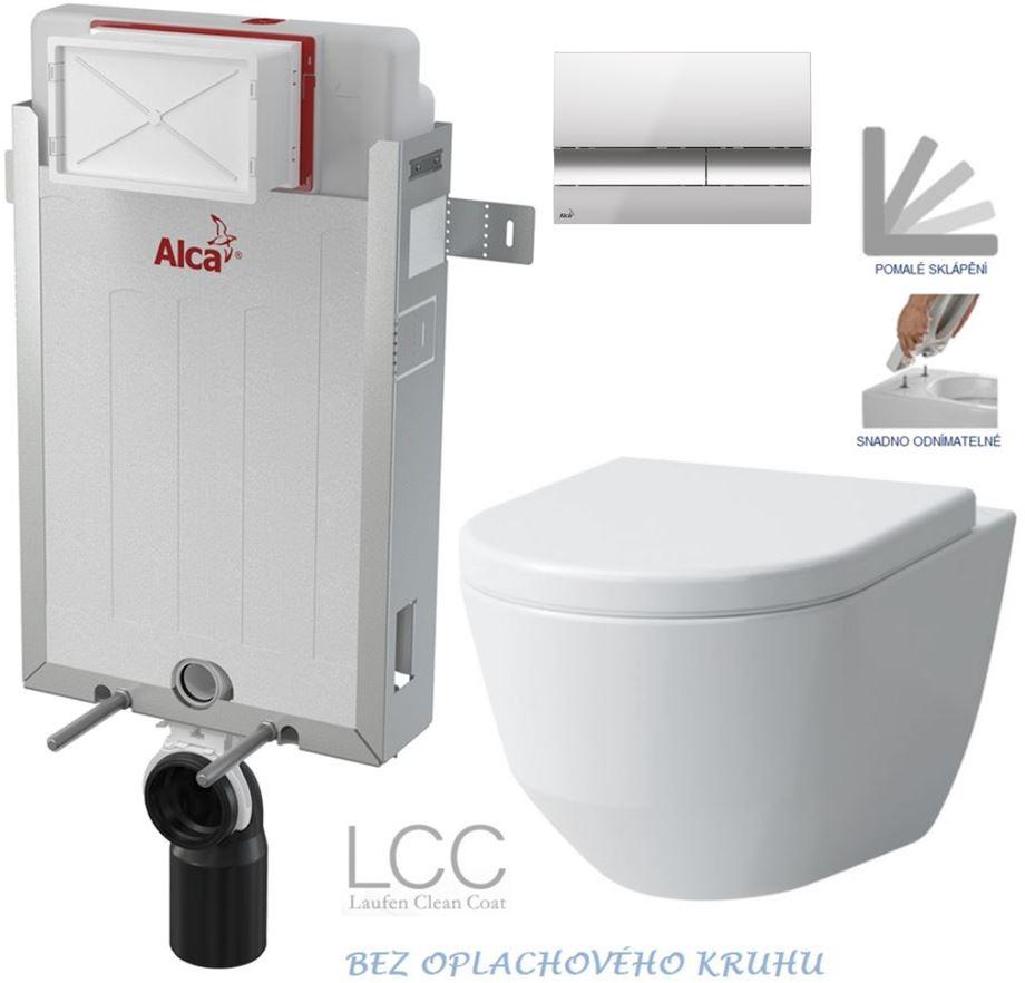 AKCE/SET/ALCAPLAST - Renovmodul - predstenový inštalačný systém + tlačidlo M1721 + WC LAUFEN PRO LCC RIMLESS + SEDADLO (AM115/1000 M1721 LP2)