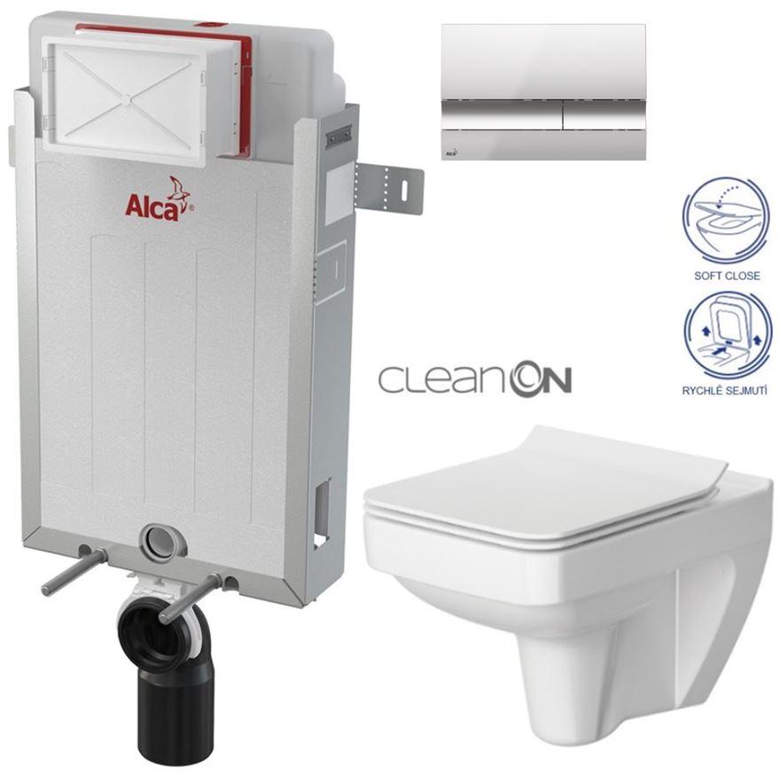 AKCE/SET/ALCAPLAST - Renovmodul - predstenový inštalačný systém + tlačidlo M1721 + WC CERSANIT CLEANON SPLENDOUR + SEDADLO (AM115/1000 M1721 SP1)
