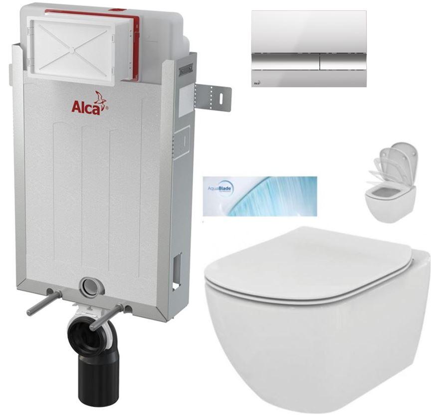 AKCE/SET/ALCAPLAST - Renovmodul - predstenový inštalačný systém + tlačidlo M1721 + WC TESI so sedadlom SoftClose, AquaBlade (AM115/1000 M1721 TE1)