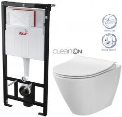 ALCAPLAST Sádromodul - predstenový inštalačný systém bez tlačidla + WC CERSANIT CLEANON CITY (AM101/1120 X CI1)
